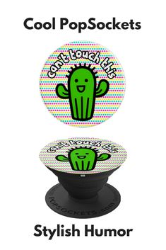 Funny Cactus Design Bright Colors Can t Touch This Green - PopSockets Grip  and Stand 7edcccae1fea
