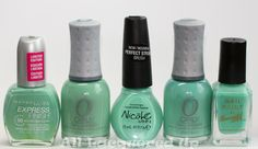 nicole opi my lifesaver nail polish comparison with orly ancient jade and gumdrop