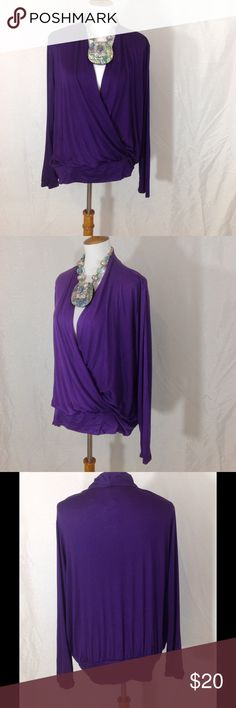 💋Crossover Long Sleeve Top-Plus Sizes Beautiful crossover long sleeve top. This is a flattering style and color. Made in USA🇺🇸 Materials: 97% Rayon, 3% Spandex Bellino Clothing Tops Tees - Long Sleeve