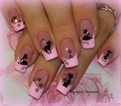 Pink French mani with Cats and Paw prints