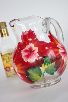 Floral pitcher, hand painted by Judi Painted it for $30. Great for summer parties, gifts, and more! Get matching glassware too! View and place orders at http://judipaintedit.com or http://www.etsy.com/shop/JudiPaintedit?ref=top_trail