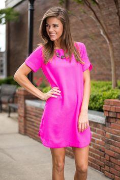 I'm Always Bright Dress, Fuchsia - The Mint Julep Boutique