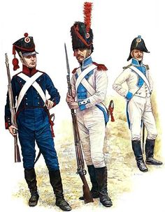 Grand Duchy of Berg L to R Gunner Foot Artillery, Grenadier Corporal Line Infantry & Officer Line Infantry. First French Empire, Osprey Publishing, Military Costumes, Army Uniform, French Army, Napoleonic Wars, Military History, Scandinavian, Revolutions