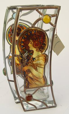 """13.5"""" x 5.5"""" (343 mm x 140 mm) Massive, glass, bright, hand-painted decorative vase, product of Czech glass factories. Precise copy of Mucha's artwork."""