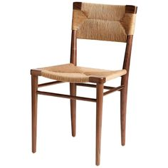 Woven Rush-Backed Dining Side Chair by Mel Smilow Dining Arm Chair, Dining Room Chairs, Side Chairs, Custom Cushions, French Oak, Modern Chairs, Modern Classic, Outdoor Chairs, Ottoman