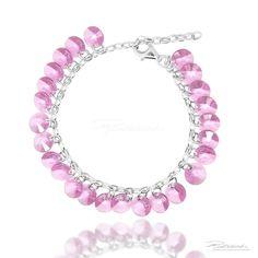 Bransoletka na srebrnym łańcuszku z kryształami Rose - OB8.R - sklep internetowy Piotrowski