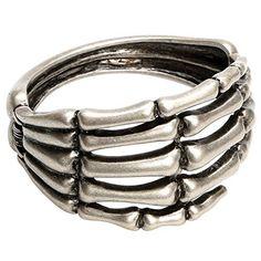 EXIU Silver Hand Skeleton Chain Unibody Bracelet Ring Slave Cuff Halloween Decoration Gift