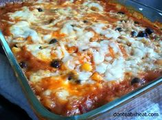 A simple, yummy Enchilada Casserole (that uses rice and not tortillas). You just mix it all together and bake! Can be gluten free and dairy free too! (Gluten Free Dinner Idea)