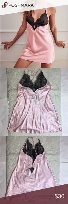 VS Medium Pink/Black Slip Unlined Victoria's Secret Intimates & Sleepwear Chemises & Slips