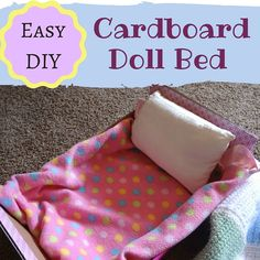 Can't believe how easy this one is! Make a doll or teddy bear bed from a cardboard box and masking tape