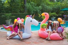 Pool Party Ideas at the Via Blossom Blog!  All the Summer party inspiration you will need for a fabulous tropical party! including Flamingo Party supplies and Pineapple Party decorations!  Unicorn Float and Flamingo Float!