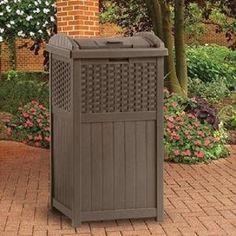 Suncast Outdoor Garbage Bin Resin Wicker Mocha Brown Patio Pool Trash Hideaway #Suncast