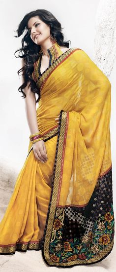 Sunrise #Yellow Faux Georgette #Saree with #Blouse @ $53.81