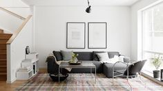 Grey and white living room. // Scandinavian design, Nordic interior.
