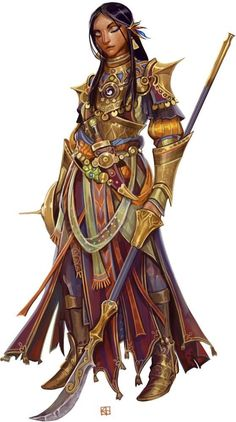 RPG Female Character Portraits shield and long handled spear elaborate outfit DnD / Pathfinder character concept Dnd Characters, Fantasy Characters, Female Characters, Fictional Characters, Fantasy Warrior, Fantasy Rpg, Woman Warrior, Fantasy Fiction, Fantasy Character Design