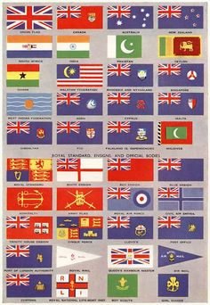 """Flags of the British Commonwealth"", The Book of Knowledge, 1960 History Of Flags, Ap World History, National Symbols, National Flag, Commonwealth, British Empire Flag, Flag Rules, New Zealand South Africa, Great Britain United Kingdom"