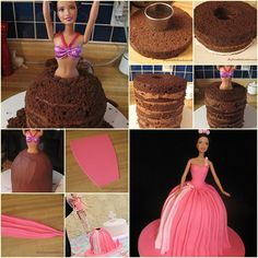 This beautifully decorated cake will make your little girl feel like a princess. It is easy to make . --- Supplies Needed: Barbie Princess Cake Decorating Barbie Birthday Cake, Barbie Party, Birthday Cakes, Bolo Barbie, Barbie Dolls, Doll Cake Tutorial, Bolo Diy, Cupcakes Decorados, Cake Decorating Tutorials