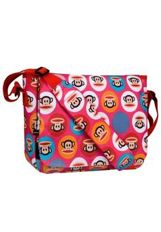 Paul Frank Monkeys Pink Core Dot Kickstart Messenger Bag Bookbag  #PaulFrank #MessengerShoulderBag