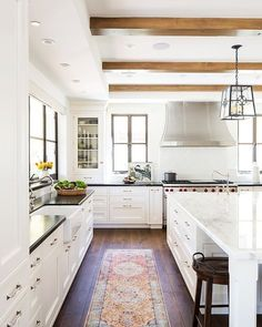 neutral kitchen, runner in kitchen, beams in kitchen, white kitchen #whitekitchen