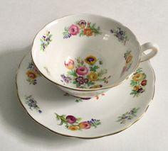 Hand Painted Copelands Grosvenor Tea Cup & Saucer. 1950s/