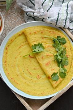 Enjoy #Monsoon with this healthy Moong dal cheela (savory Mung lentil crepe)  Rich in fibre  & protein,  makes perfect Breakfast. Serve with chutney and chai.