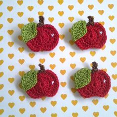 6pcs  Red Whole Apple Crochet Appliques  fine by appliquefarm / FINISHED PRODUCT for sale / use for crafting, clothes, cards, hair clips, etc.