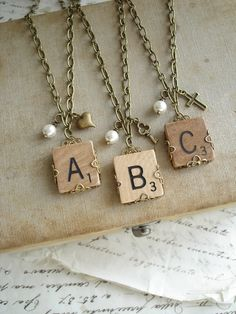 SCRABBLE Tile Necklace. Custom Initial Necklace. Eco Friendly Personalized Letter A B C D E F G H I L N O P Q R S T U V W X Y Z Necklace.