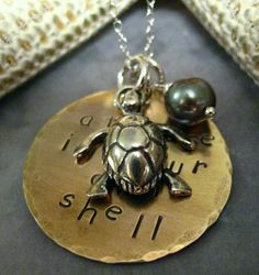 Mixed Metal Turtle Theme Necklace by purplemoongifts on Etsy