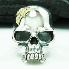 GOLD BRASS EAGLE SKULL 925 STERLING SILVER US Size 11 BIKER ROCKER GOTHIC RING #Handmade