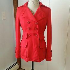 Red jacket Beautiful bright red.  Poka Dots on inside. Jackets & Coats Pea Coats
