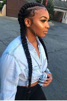 Two Cornrow Braids, Cornrow Ponytail, Twist Cornrows, Ponytail With Braiding Hair, Small Cornrows, Ghana Braids, Feed In Braids Hairstyles, Black Girl Braided Hairstyles, Two Braids Hairstyle Black Women