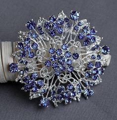 Light Blue Rhinestone Brooch Crystal Wedding Bridal Button Brooch Bouquet Invitation Cake Decoration Hair Comb Shoe Clip BR234