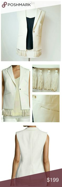 NWT The Perfect Winter White Vest! - NWT - Foundrae - Winter White - Crepe, Polyester/wool - Size 4, 25in L, 5in shoulder, tassels measure 3.25in - Wide notch lapel, slit pockets, structured  fukl coverage 5 shoulders, single button - Tassels have beautiful gold beading FOUNDRAE  Jackets & Coats Vests