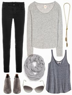 Gray sweater, black jeans, ankle boots