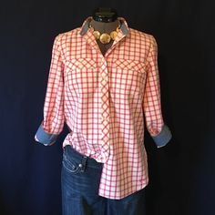 Talbots Pink & Cream Plaid Button-Down Top Beautiful!! This pink & cream plaid has a tiny row of metallic silver thread on every other pink line that is very subtle, but also enough to make this shirt pop! Size Small. Has bust darts, the cuffs are lined with chambray as well as the inside of the neckband for pretty contrast. Has sleeve roll tabs. Bust measured flat is 19 inches, back of neck to hem is 25.5 inches. 98% cotton, 1% metallic, 1% other fiber. Very soft! IN PERFECT CONDITION…