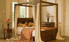 Bedroom, : Engaging Ideas For Bedroom Design With Mahogany Wood Canopy  Four Poster Bed Frame Along With Square Wooden Night Stand And Cream Bed Canopy