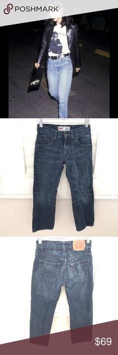 """LEVI's 505 high waist regular cut jeans size 24 Levi's 505 regular blue jeans   Classic brand. High rise mom jeans. No stretch material--they don't make them like this anymore. Winona Ryder wore the 90s style.  100% cotton made in Kenya  👖Waist 24"""" 👖Rise 7.5"""" 👖Inseam 21.5"""" Levi's Jeans Ankle & Cropped"""