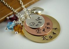 Birthstone necklace with names