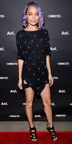 Last Night's Look: Love It or Leave It? | NICOLE RICHIE | Long sleeves, short skirt, purple hair. And if that's not enough, Nicole shows double thigh in a studded Anthony Vaccarello mini with an inverted slit at the AOL NewFronts in N.Y.C.
