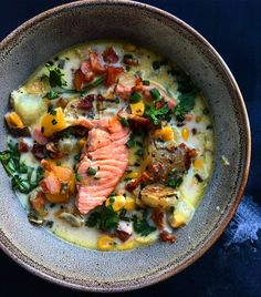 This Salmon Chowder with Smokey Bacon, Corn and Potatoes recipe is featured in the Salmon feed along with many more. Salmon Soup, Salmon Chowder, Fish Chowder, Chowder Soup, Coho Salmon Recipe, Salmon Recipes, Potato Recipes, Seafood Recipes, Seafood