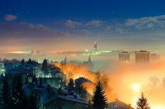 Foggy morning in Sarajevo, Bosnia and Herzegovina