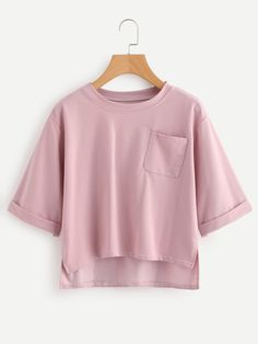 To find out about the Roll Sleeve Slit Side High Low Tee at SHEIN, part of our latest T-Shirts ready to shop online today! Crop Top Outfits, Cute Casual Outfits, Summer Outfits, Summer Crop Tops, Cute Crop Tops, Teen Fashion Outfits, Girl Fashion, Womens Fashion, Mode Grunge