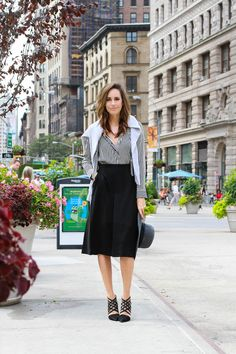 City Street Style: Stripes & Skirts | NY Fashion Week Street Style | Front Roe by Louise Roe