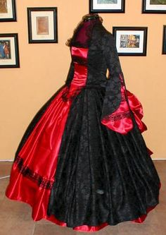 Victorian Gothic Black & Red Wedding or Handfasting Dress