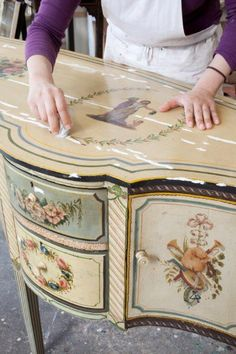a pair of century northern italian painted commodes with faux marble tops, an century Decoupage Furniture, Chalk Paint Furniture, Hand Painted Furniture, Funky Furniture, Repurposed Furniture, Shabby Chic Furniture, Furniture Makeover, Antique Furniture, Furniture Decor