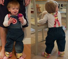How to make toddler jeans from a pair of old adult jeans.