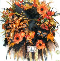 Reserved custom made order for Erin, XXXL Halloween wreath, witch wreath, fall floral wreath,  autumn wreath, Front Door wreath. $199.00, via Etsy.
