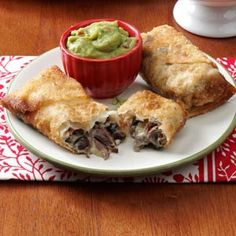 Mini Beef Chimichangas Recipe from Taste of Home - love the idea of doing mini chimis in wonton wrappers