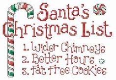 Santa's Christmas List Cross Stitch Pattern