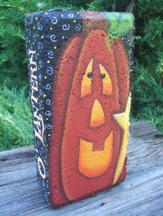 12006 Jack Brick Pattern Oil Creek Originals by OilCreekOriginals Painted Bricks Crafts, Brick Crafts, Painted Pavers, Stone Crafts, Painted Pumpkins, Painted Rocks, Cement Pavers, Halloween Rocks, Fall Halloween